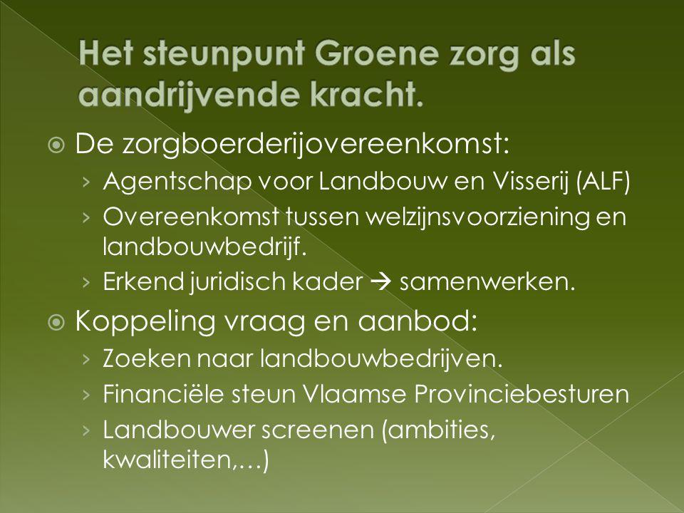  De dienstverlening van steunpunt Groene zorg: › Drempelverlagend › Taak: begeleiding van clienten op zich nemen  Kenniscentrum › Samenwerking landbouw en hulpverlening.