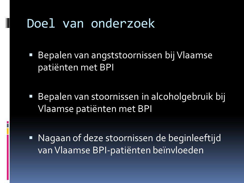 Doel van onderzoek  Bepalen van angststoornissen bij Vlaamse patiënten met BPI  Bepalen van stoornissen in alcoholgebruik bij Vlaamse patiënten met BPI  Nagaan of deze stoornissen de beginleeftijd van Vlaamse BPI-patiënten beïnvloeden