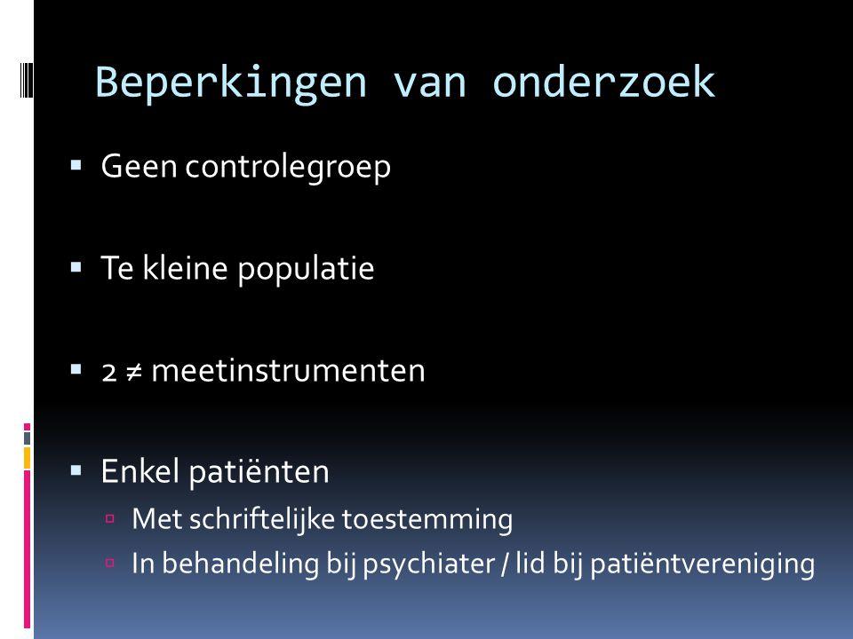 Beperkingen van onderzoek  Geen controlegroep  Te kleine populatie  2 ≠ meetinstrumenten  Enkel patiënten  Met schriftelijke toestemming  In behandeling bij psychiater / lid bij patiëntvereniging