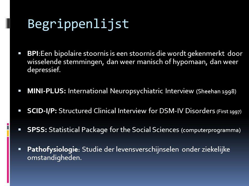 Begrippenlijst  BPI:Een bipolaire stoornis is een stoornis die wordt gekenmerkt door wisselende stemmingen, dan weer manisch of hypomaan, dan weer depressief.