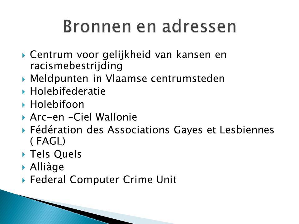  Centrum voor gelijkheid van kansen en racismebestrijding  Meldpunten in Vlaamse centrumsteden  Holebifederatie  Holebifoon  Arc-en –Ciel Wallonie  Fédération des Associations Gayes et Lesbiennes ( FAGL)  Tels Quels  Alliàge  Federal Computer Crime Unit