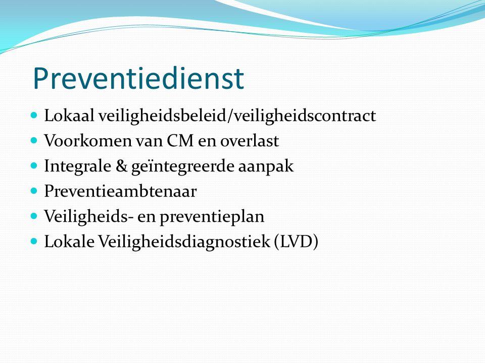 Preventiedienst Lokaal veiligheidsbeleid/veiligheidscontract Voorkomen van CM en overlast Integrale & geïntegreerde aanpak Preventieambtenaar Veilighe