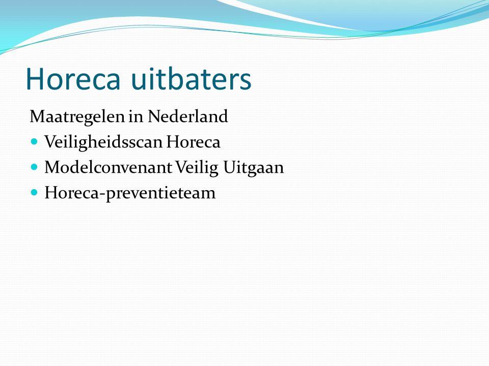 Horeca uitbaters Maatregelen in Nederland Veiligheidsscan Horeca Modelconvenant Veilig Uitgaan Horeca-preventieteam