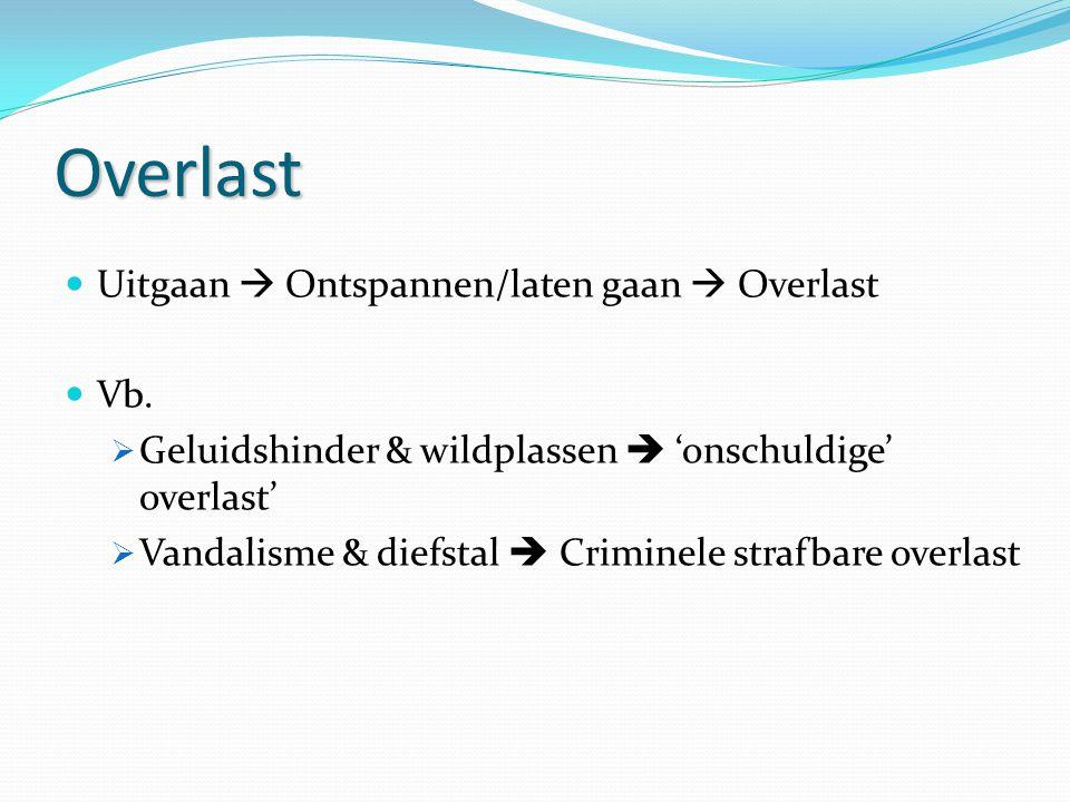 Overlast Uitgaan  Ontspannen/laten gaan  Overlast Vb.  Geluidshinder & wildplassen  'onschuldige' overlast'  Vandalisme & diefstal  Criminele st