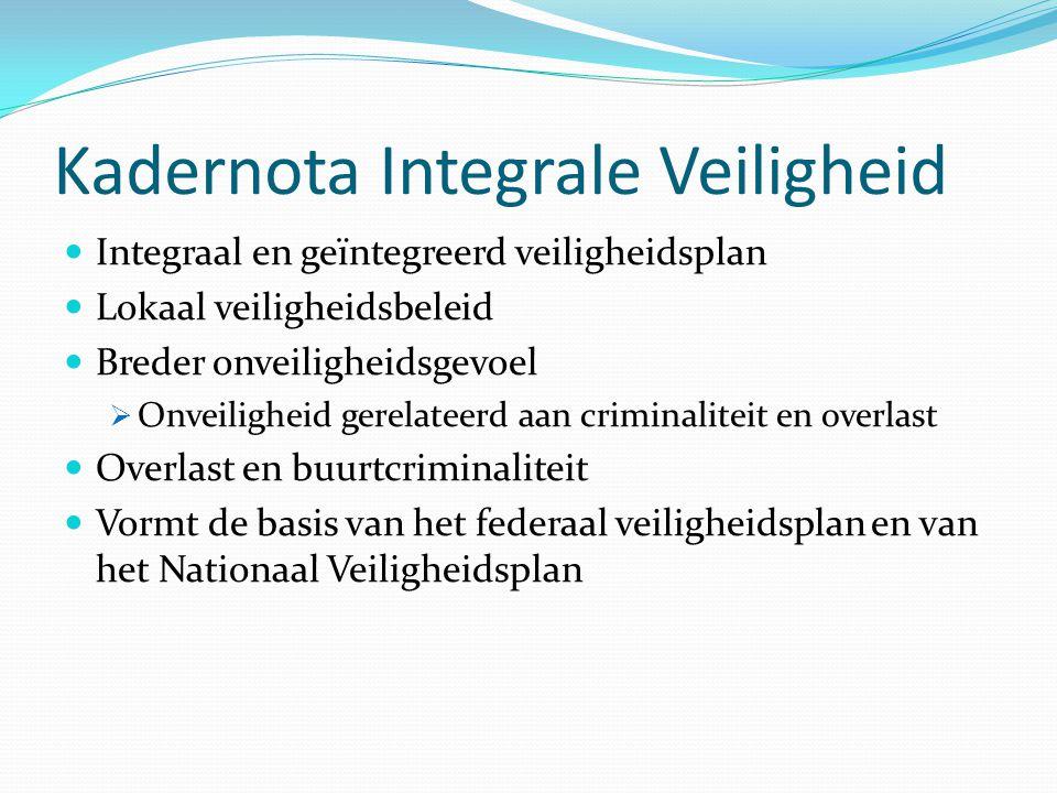 Kadernota Integrale Veiligheid Integraal en geïntegreerd veiligheidsplan Lokaal veiligheidsbeleid Breder onveiligheidsgevoel  Onveiligheid gerelateer