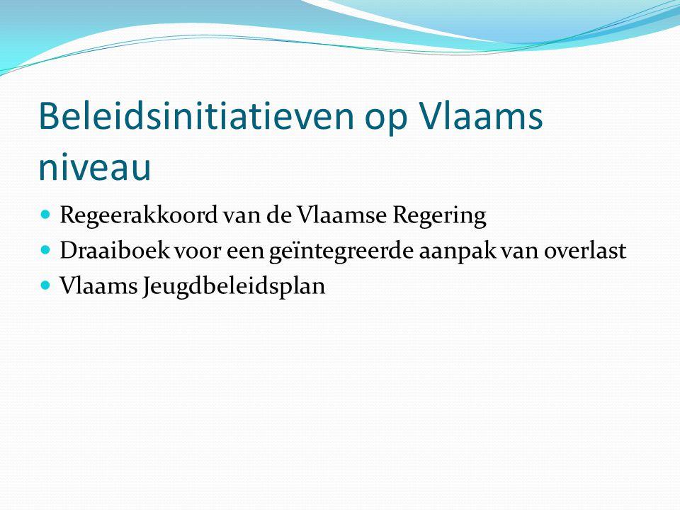 Beleidsinitiatieven op Vlaams niveau Regeerakkoord van de Vlaamse Regering Draaiboek voor een geïntegreerde aanpak van overlast Vlaams Jeugdbeleidspla