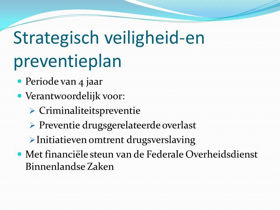 Strategisch veiligheid-en preventieplan Periode van 4 jaar Verantwoordelijk voor:  Criminaliteitspreventie  Preventie drugsgerelateerde overlast  I
