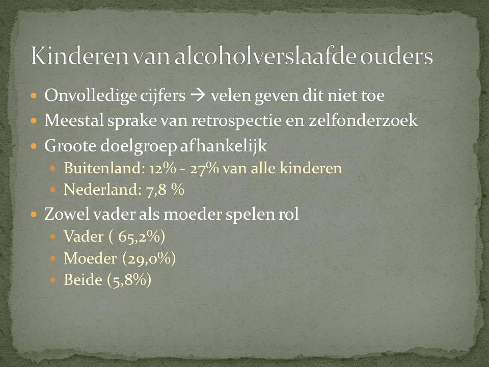 Onvolledige cijfers  velen geven dit niet toe Meestal sprake van retrospectie en zelfonderzoek Groote doelgroep afhankelijk Buitenland: 12% - 27% van alle kinderen Nederland: 7,8 % Zowel vader als moeder spelen rol Vader ( 65,2%) Moeder (29,0%) Beide (5,8%)