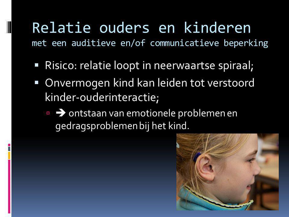 Relatie ouders en kinderen met een auditieve en/of communicatieve beperking  Risico: relatie loopt in neerwaartse spiraal;  Onvermogen kind kan leid