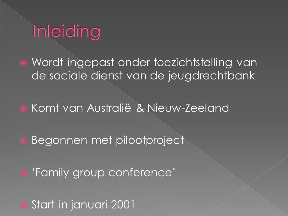 Wordt ingepast onder toezichtstelling van de sociale dienst van de jeugdrechtbank  Komt van Australië & Nieuw-Zeeland  Begonnen met pilootproject  'Family group conference'  Start in januari 2001