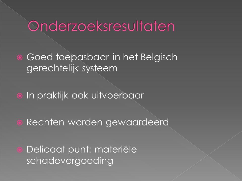  Goed toepasbaar in het Belgisch gerechtelijk systeem  In praktijk ook uitvoerbaar  Rechten worden gewaardeerd  Delicaat punt: materiële schadevergoeding