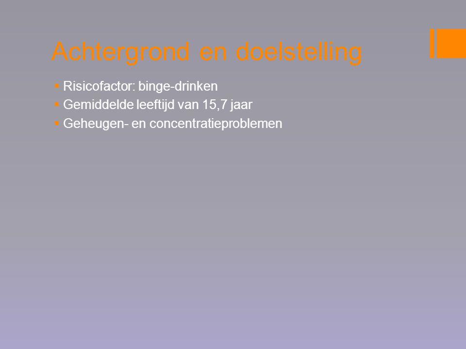 Doelstellingen van het screenings- en nazorgtraject  Screening op onderliggende psychosociale problemen;  (neuro)psychologisch onderzoek naar cognitieve schade;  motiveren voor en doorverwijzen naar andere hulpverleningsinstanties;  voorkomen van een recidive van een alcoholintoxicatie;  gedragsverandering jongere: geen alcohol (binge-)drinken;  gedragsverandering ouders: hanteren van alcoholspecifieke opvoedingsregels en toezicht houden.