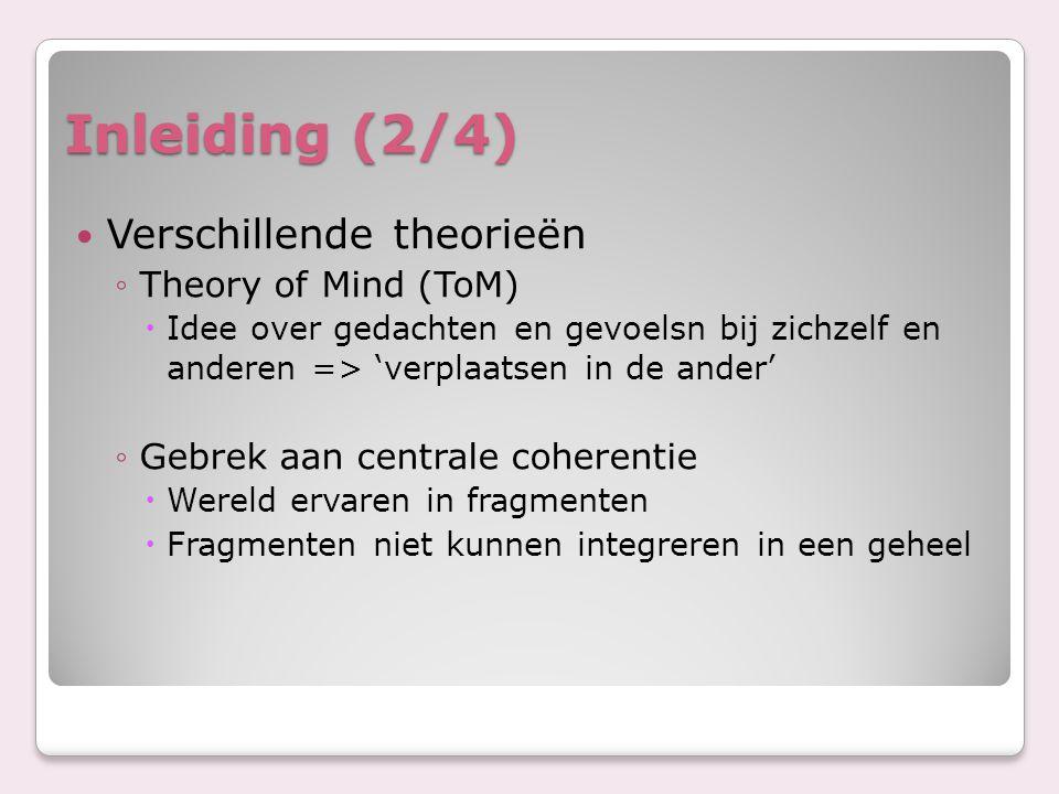 Inleiding (2/4) Verschillende theorieën ◦Theory of Mind (ToM)  Idee over gedachten en gevoelsn bij zichzelf en anderen => 'verplaatsen in de ander' ◦