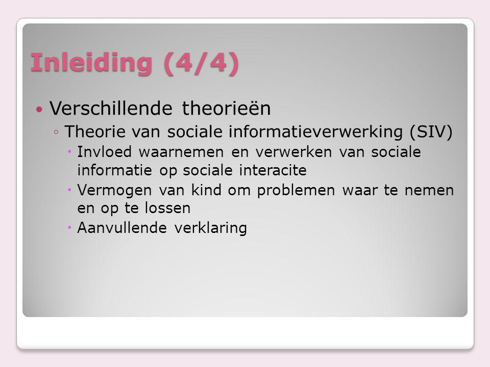 Inleiding (4/4) Verschillende theorieën ◦Theorie van sociale informatieverwerking (SIV)  Invloed waarnemen en verwerken van sociale informatie op soc