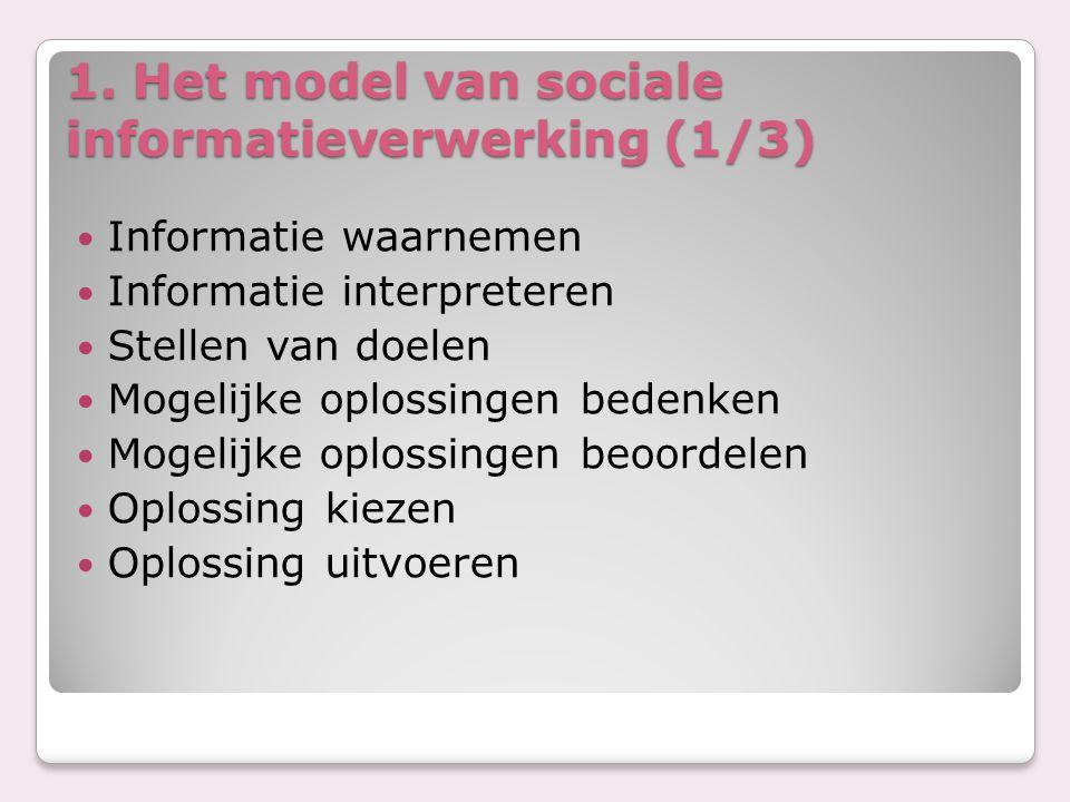 1. Het model van sociale informatieverwerking (1/3) Informatie waarnemen Informatie interpreteren Stellen van doelen Mogelijke oplossingen bedenken Mo