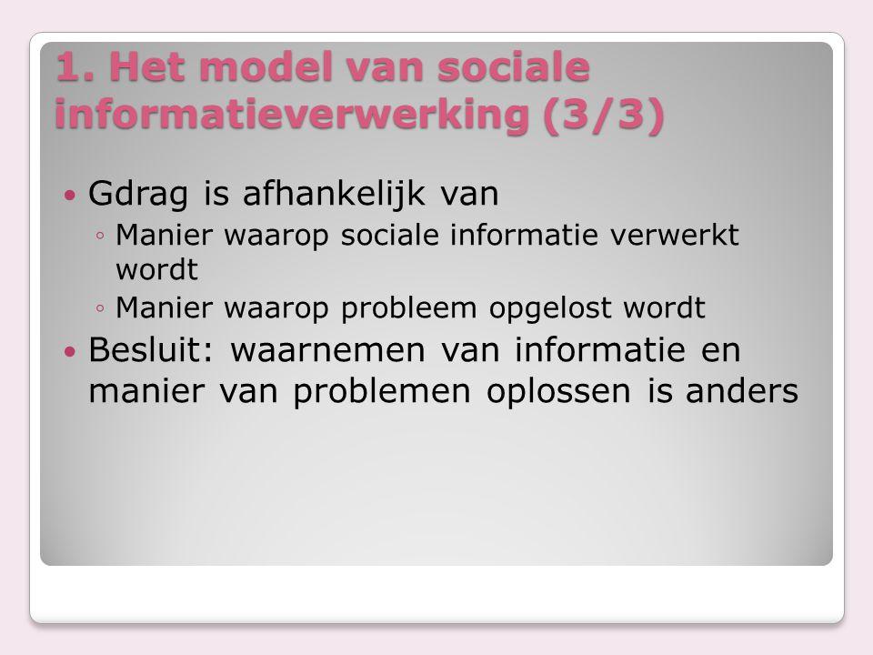 1. Het model van sociale informatieverwerking (3/3) Gdrag is afhankelijk van ◦Manier waarop sociale informatie verwerkt wordt ◦Manier waarop probleem