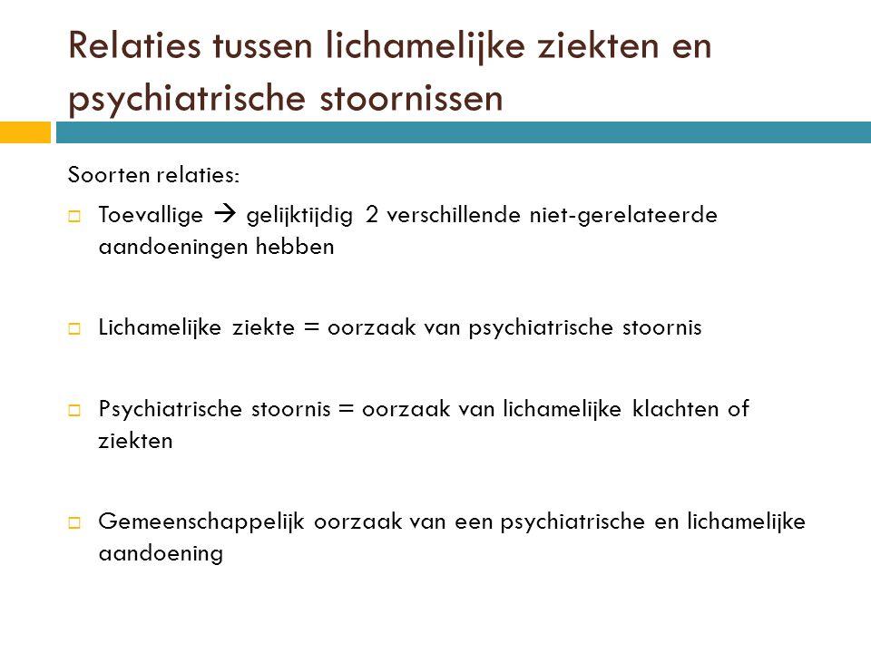 Lichamelijke ziekte als oorzaak van psychiatrische stoornis  Depressie verklaringsmodellen:  Stresshypothese Zowel van lichamelijke als psychische stress  Ontstekingshypothese Ontstekingsprocessen in het lichaam  Vasculaire hypothese Cerebravasculaire schade  verminderde hersendoorbloeding  Angststoornissen  Bv.: hartritmestoornissen, ernstige kortademigheid  Organische psychosen Bij cerebrale aandoeningen