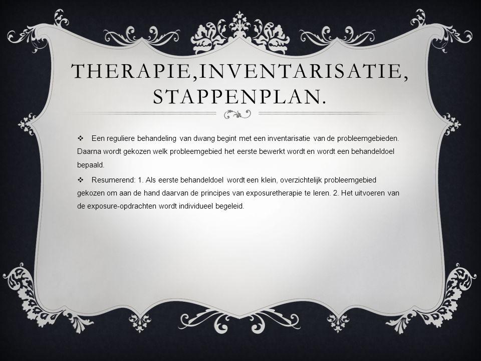 THERAPIE,INVENTARISATIE, STAPPENPLAN.  Een reguliere behandeling van dwang begint met een inventarisatie van de probleemgebieden. Daarna wordt gekoze
