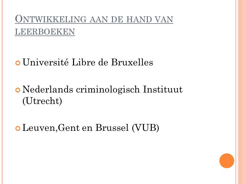 O NTWIKKELING AAN DE HAND VAN LEERBOEKEN Université Libre de Bruxelles Nederlands criminologisch Instituut (Utrecht) Leuven,Gent en Brussel (VUB)