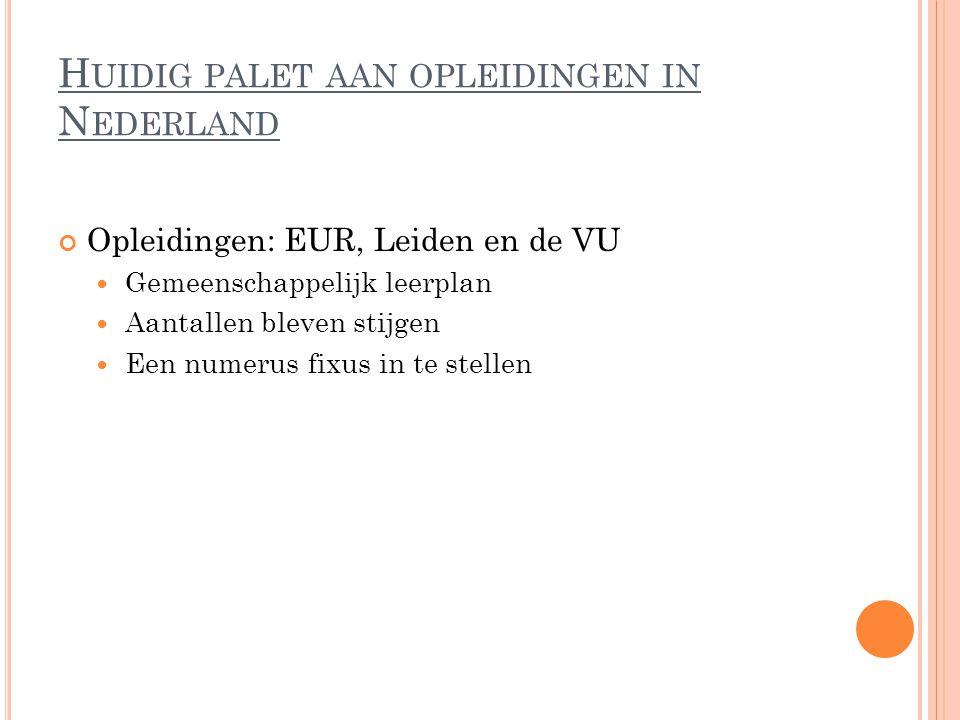 H UIDIG PALET AAN OPLEIDINGEN IN N EDERLAND Opleidingen: EUR, Leiden en de VU Gemeenschappelijk leerplan Aantallen bleven stijgen Een numerus fixus in te stellen