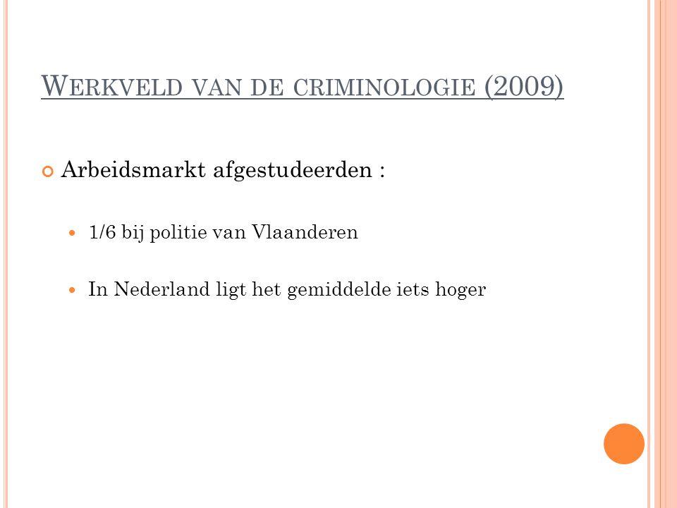 W ERKVELD VAN DE CRIMINOLOGIE (2009) Arbeidsmarkt afgestudeerden : 1/6 bij politie van Vlaanderen In Nederland ligt het gemiddelde iets hoger