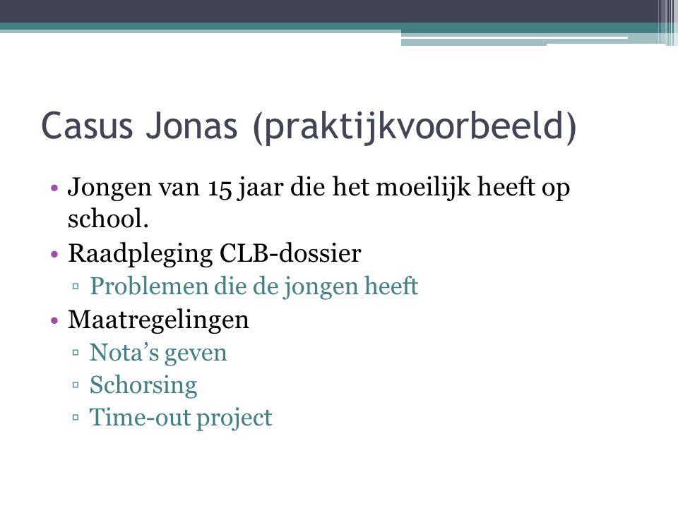 Casus Jonas (praktijkvoorbeeld) Jongen van 15 jaar die het moeilijk heeft op school. Raadpleging CLB-dossier ▫Problemen die de jongen heeft Maatregeli