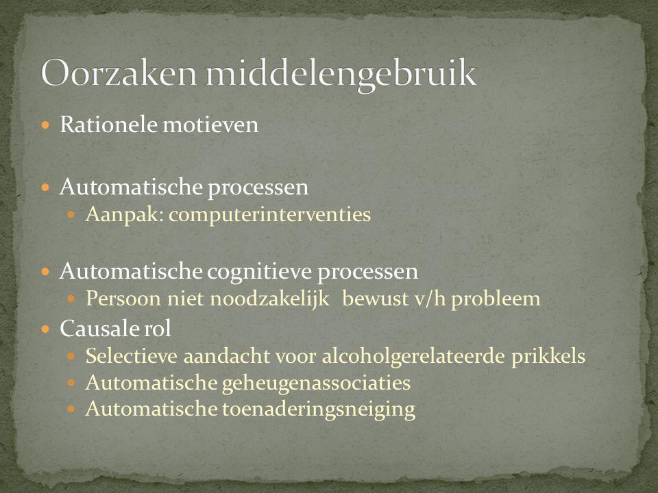 Rationele motieven Automatische processen Aanpak: computerinterventies Automatische cognitieve processen Persoon niet noodzakelijk bewust v/h probleem