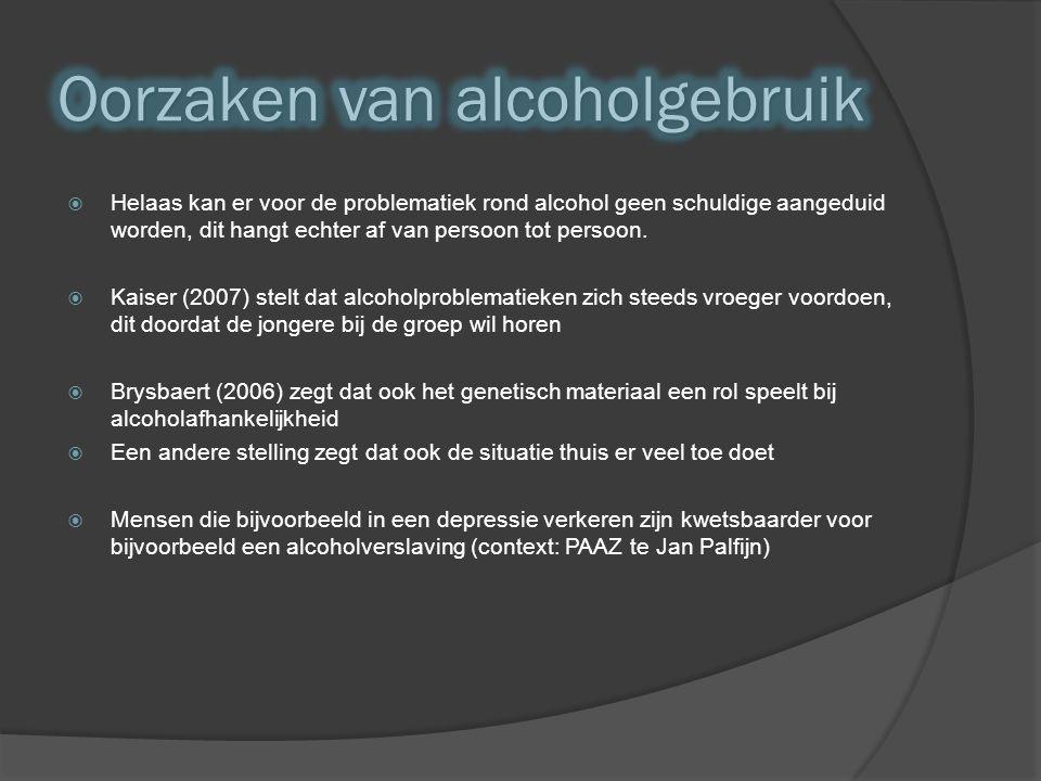  Helaas kan er voor de problematiek rond alcohol geen schuldige aangeduid worden, dit hangt echter af van persoon tot persoon.