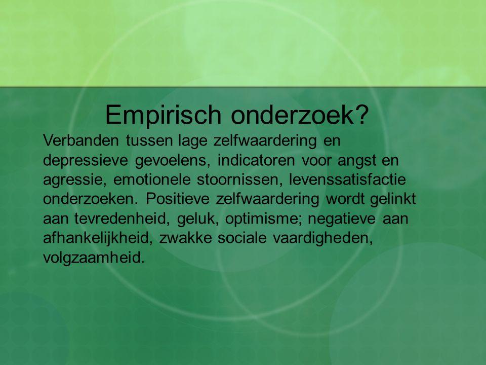 Empirisch onderzoek? Verbanden tussen lage zelfwaardering en depressieve gevoelens, indicatoren voor angst en agressie, emotionele stoornissen, levens