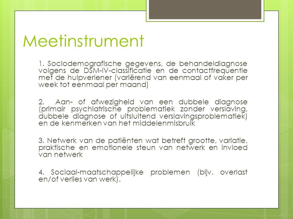 Inventarisatie middelengebruik  Over het algemeen gebruiken de als verslaafd gekenmerkte patiënten één middel (40%) of twee middelen (ca.