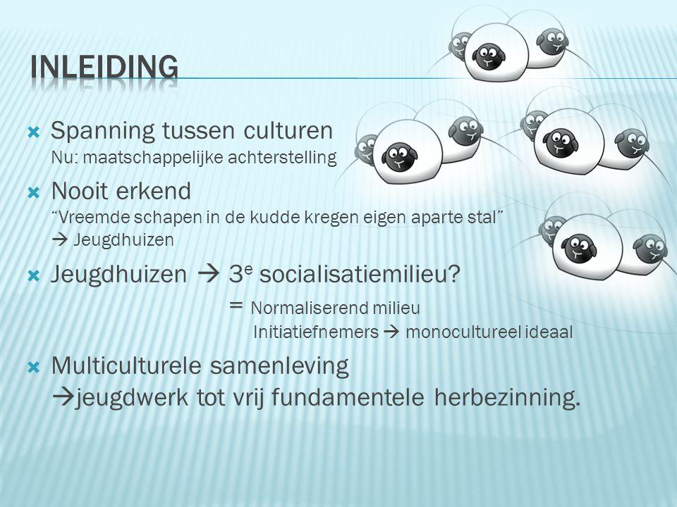  Spanning tussen culturen Nu: maatschappelijke achterstelling  Nooit erkend Vreemde schapen in de kudde kregen eigen aparte stal  Jeugdhuizen  Jeugdhuizen  3 e socialisatiemilieu.