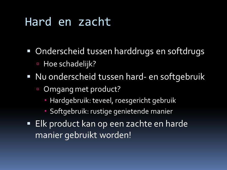 Hard en zacht  Onderscheid tussen harddrugs en softdrugs  Hoe schadelijk.