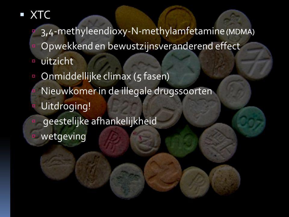  XTC  3,4-methyleendioxy-N-methylamfetamine (MDMA)  Opwekkend en bewustzijnsveranderend effect  uitzicht  Onmiddellijke climax (5 fasen)  Nieuwkomer in de illegale drugssoorten  Uitdroging.