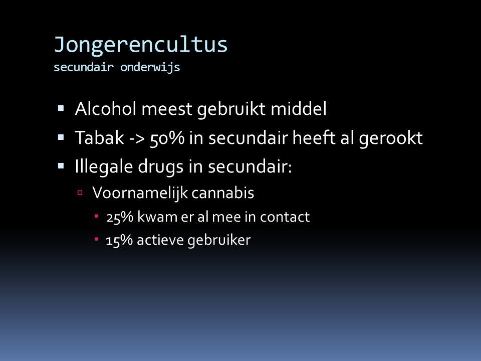 Jongerencultus secundair onderwijs  Alcohol meest gebruikt middel  Tabak -> 50% in secundair heeft al gerookt  Illegale drugs in secundair:  Voornamelijk cannabis  25% kwam er al mee in contact  15% actieve gebruiker