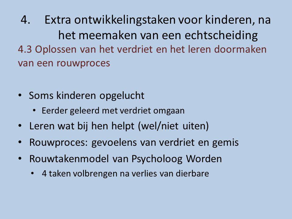 4.Extra ontwikkelingstaken voor kinderen, na het meemaken van een echtscheiding 4.3 Oplossen van het verdriet en het leren doormaken van een rouwproce