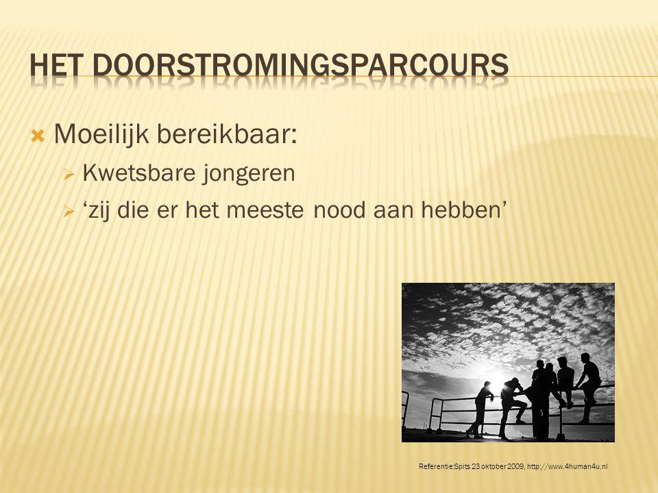  Moeilijk bereikbaar:  Kwetsbare jongeren  'zij die er het meeste nood aan hebben' Referentie:Spits 23 oktober 2009, http://www.4human4u.nl