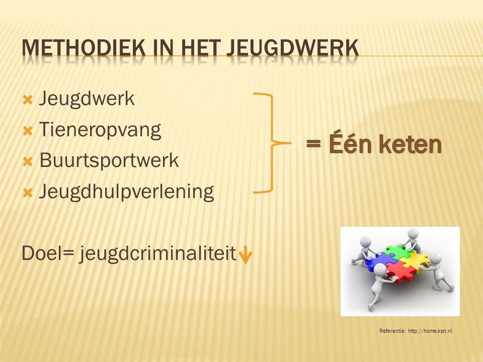  Jeugdwerk  Tieneropvang  Buurtsportwerk  Jeugdhulpverlening Doel= jeugdcriminaliteit Referentie: http://home.kpn.nl