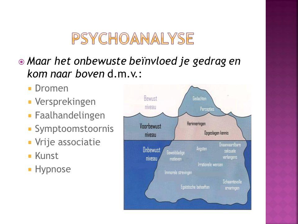  Maar het onbewuste beïnvloed je gedrag en kom naar boven d.m.v.:  Dromen  Versprekingen  Faalhandelingen  Symptoomstoornis  Vrije associatie  Kunst  Hypnose