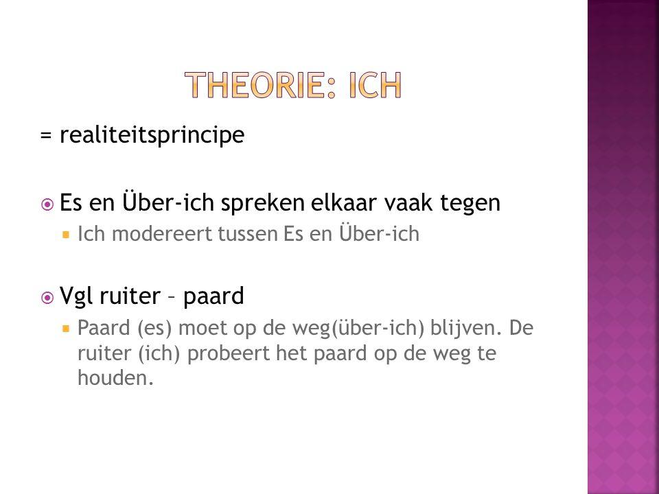 = realiteitsprincipe  Es en Über-ich spreken elkaar vaak tegen  Ich modereert tussen Es en Über-ich  Vgl ruiter – paard  Paard (es) moet op de weg(über-ich) blijven.