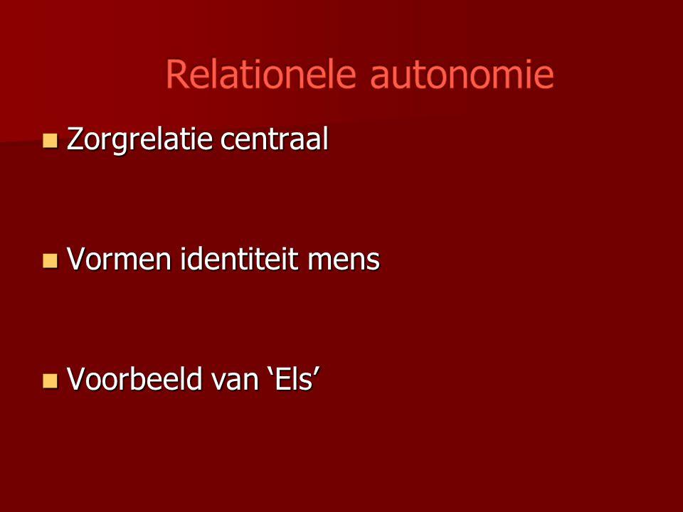 Zorgrelatie centraal Zorgrelatie centraal Vormen identiteit mens Vormen identiteit mens Voorbeeld van 'Els' Voorbeeld van 'Els'