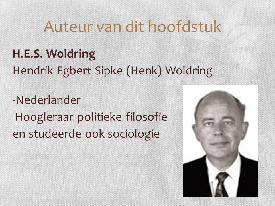 Auteur van dit hoofdstuk H.E.S. Woldring Hendrik Egbert Sipke (Henk) Woldring -Nederlander - Hoogleraar politieke filosofie en studeerde ook sociologi