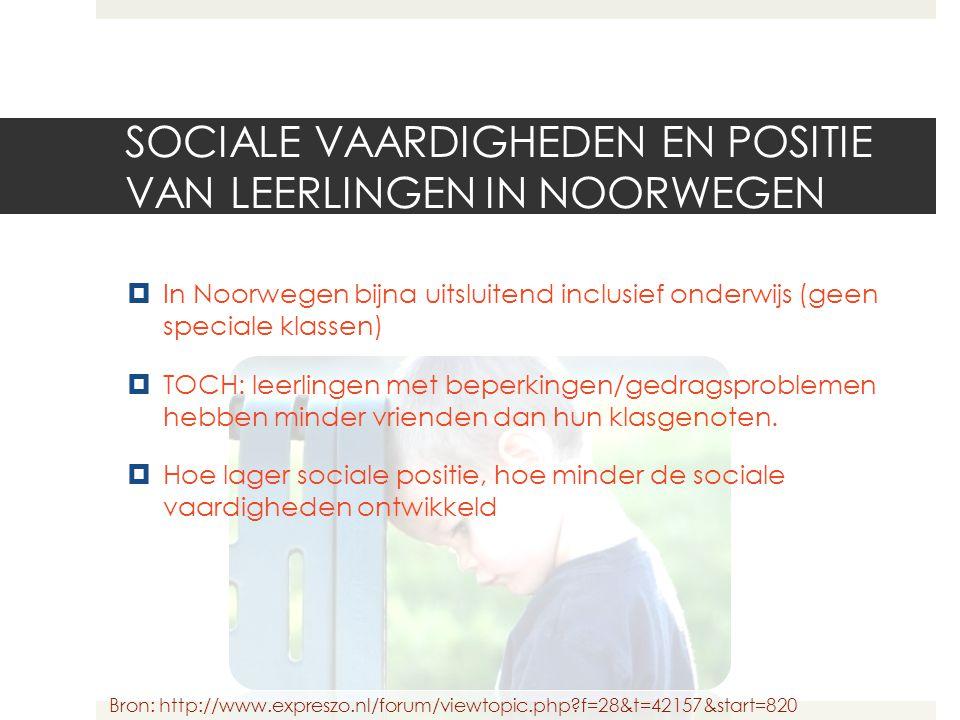 SOCIALE VAARDIGHEDEN EN POSITIE VAN LEERLINGEN IN NOORWEGEN  In Noorwegen bijna uitsluitend inclusief onderwijs (geen speciale klassen)  TOCH: leerl