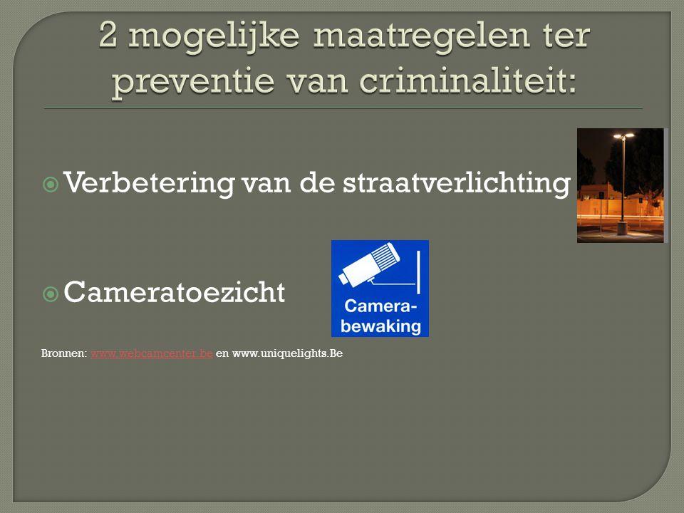  Verbetering van de straatverlichting  Cameratoezicht Bronnen: www.webcamcenter.be en www.uniquelights.Bewww.webcamcenter.be
