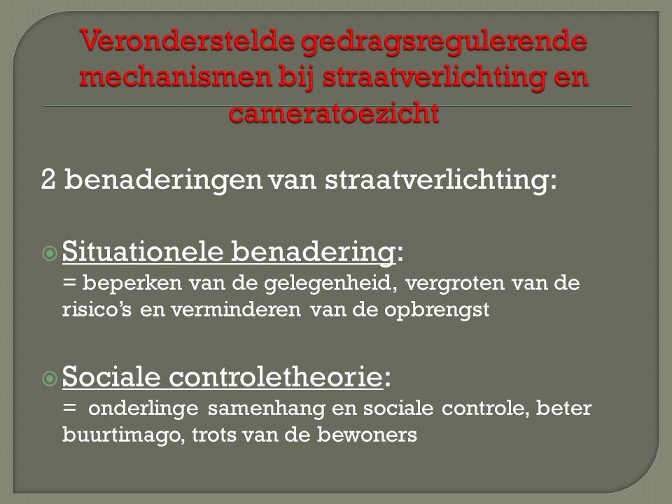 2 benaderingen van straatverlichting:  Situationele benadering: = beperken van de gelegenheid, vergroten van de risico's en verminderen van de opbrengst  Sociale controletheorie: = onderlinge samenhang en sociale controle, beter buurtimago, trots van de bewoners