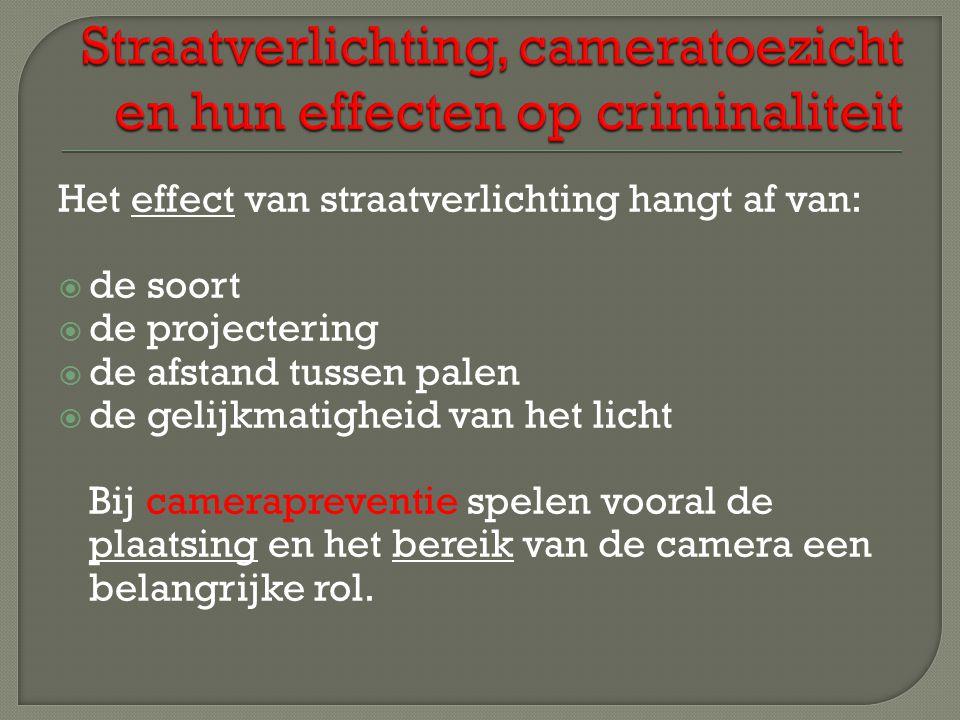 Het effect van straatverlichting hangt af van: dde soort dde projectering dde afstand tussen palen dde gelijkmatigheid van het licht Bij camerapreventie spelen vooral de plaatsing en het bereik van de camera een belangrijke rol.