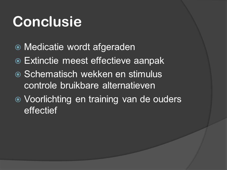 Conclusie  Medicatie wordt afgeraden  Extinctie meest effectieve aanpak  Schematisch wekken en stimulus controle bruikbare alternatieven  Voorlich