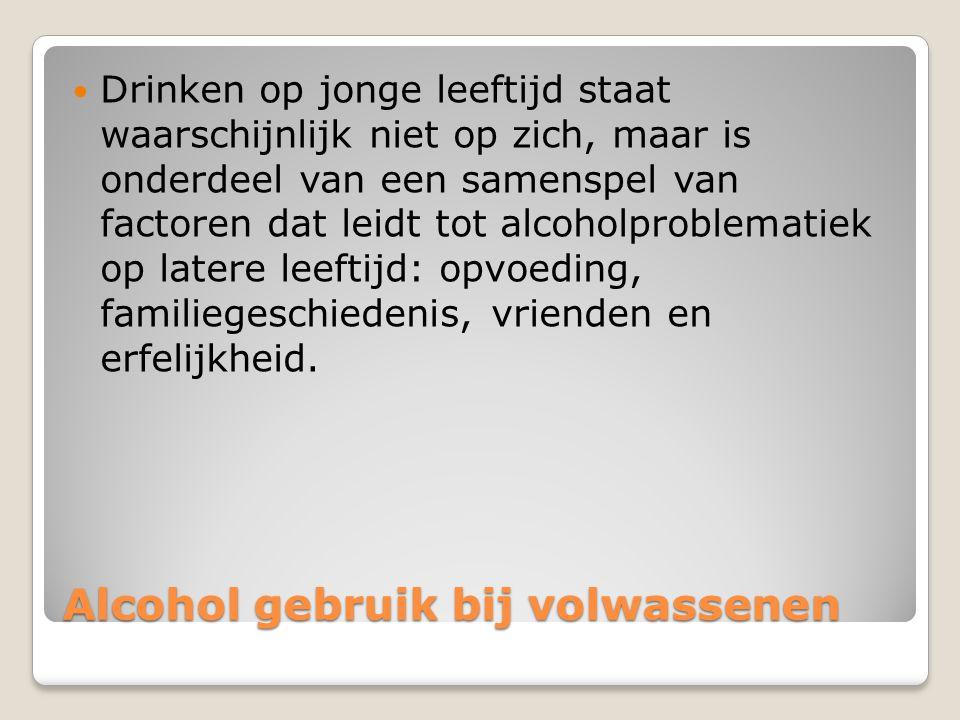Alcohol gebruik bij volwassenen Drinken op jonge leeftijd staat waarschijnlijk niet op zich, maar is onderdeel van een samenspel van factoren dat leidt tot alcoholproblematiek op latere leeftijd: opvoeding, familiegeschiedenis, vrienden en erfelijkheid.