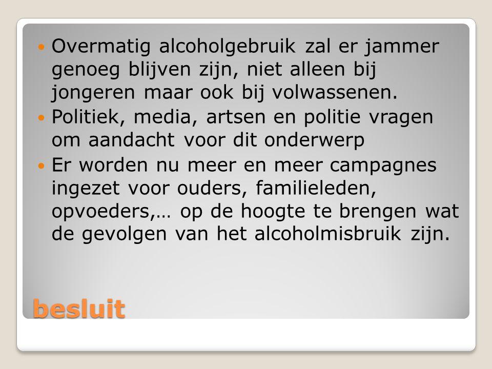 besluit Overmatig alcoholgebruik zal er jammer genoeg blijven zijn, niet alleen bij jongeren maar ook bij volwassenen.