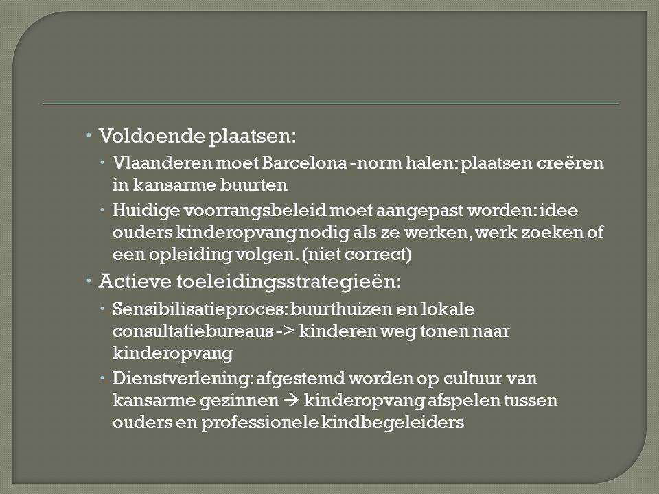  Voldoende plaatsen:  Vlaanderen moet Barcelona -norm halen: plaatsen creëren in kansarme buurten  Huidige voorrangsbeleid moet aangepast worden: idee ouders kinderopvang nodig als ze werken, werk zoeken of een opleiding volgen.
