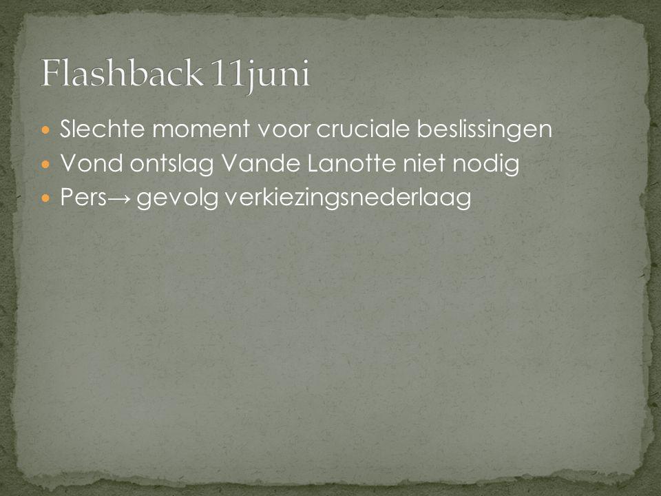 Slechte moment voor cruciale beslissingen Vond ontslag Vande Lanotte niet nodig Pers→ gevolg verkiezingsnederlaag